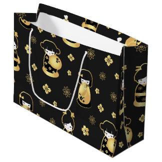 Niedliches elegantes schwarzes Goldjapanische Große Geschenktüte