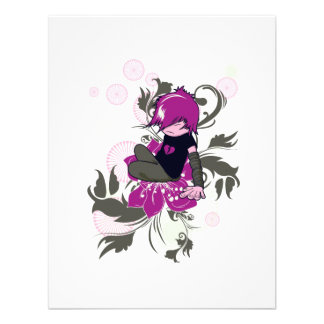 niedliches emo Kind, das auf einer Blume sitzt Individuelle Ankündigung