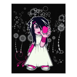 niedliches emo Mädchen, das Herzvektorkunst hält Ankündigungskarte