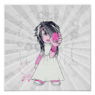 niedliches emo Mädchen, das Herzvektorkunst hält Poster