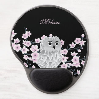 Niedliches Eulen-Kirschblüten-Schwarz-Rosa Gel Mousepad