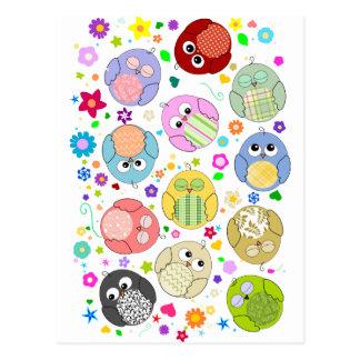 Niedliches Eulen- und Blumenmuster Postkarte