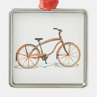 Niedliches Fahrrad Quadratisches Silberfarbenes Ornament