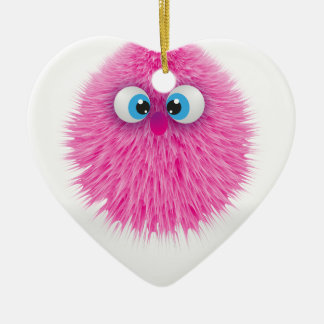 Niedliches flaumiges rosa Monster Keramik Ornament