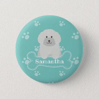 Niedliches flaumiges weißes runder button 5,1 cm