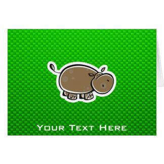 Niedliches Flusspferd; Grün Karte