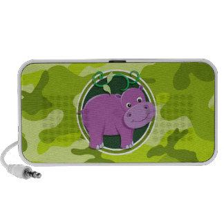 Niedliches Flusspferd hellgrüne Camouflage Speaker System