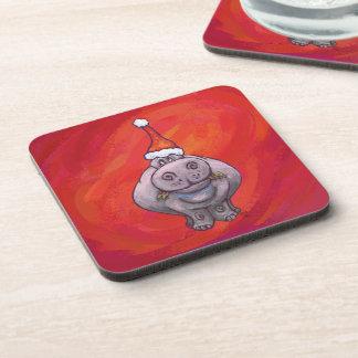 Niedliches Flusspferd in der Weihnachtsmannmütze Getränkeuntersetzer