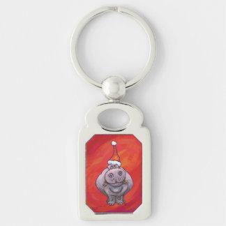 Niedliches Flusspferd in der Weihnachtsmannmütze Schlüsselanhänger