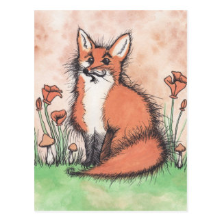 Niedliches Foxie u. Blumen Postkarte