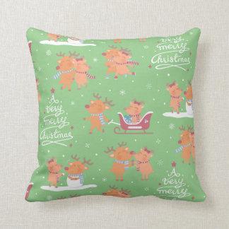 Niedliches frohe Weihnacht-Ren-Muster-Dekor-Kissen Kissen