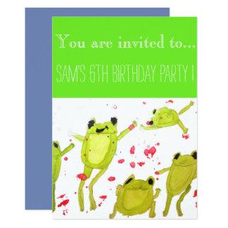 Niedliches Frösche Jungen-Geburtstags-Party Karte