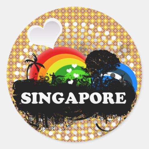 Niedliches fruchtiges Singapur Runde Aufkleber