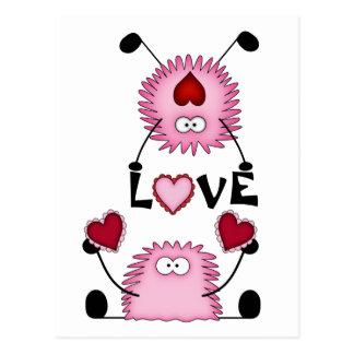 Niedliches Fuzzies Herzen und Liebe-Postkarte