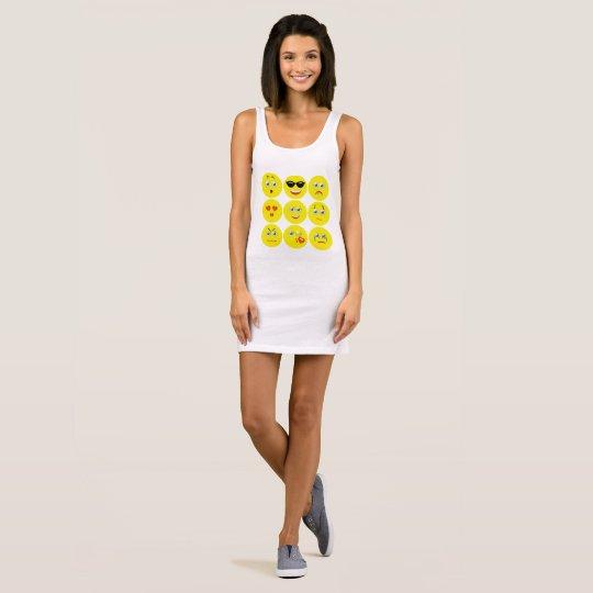 Niedliches gelbes und weißes Emojis Ärmelloses Kleid