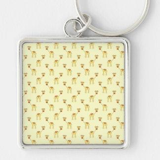 Niedliches Giraffen-Muster auf Gelb Schlüsselanhänger