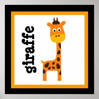 Niedliches Giraffen-Safari-Tier-Baby scherzt Plaka Poster