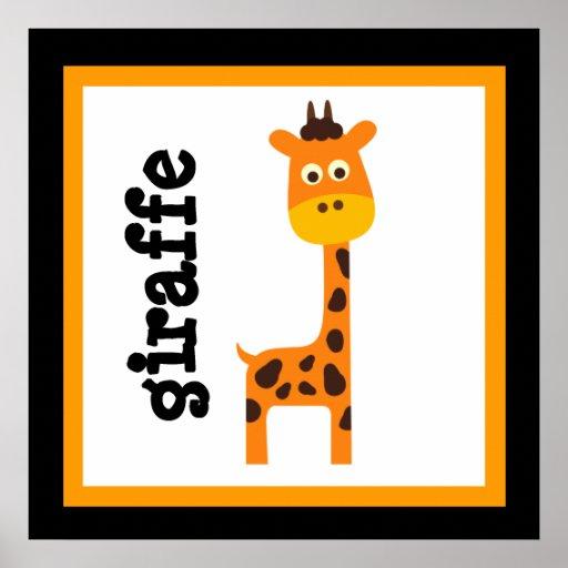 Niedliches Giraffen-Safari-Tier-Baby scherzt Plaka Plakatdruck