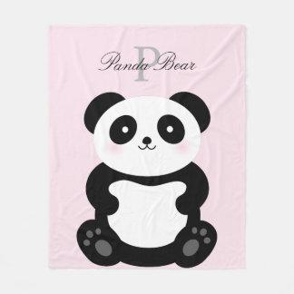 Niedliches Girly Baby-Panda-Bärn-Monogramm Fleecedecke