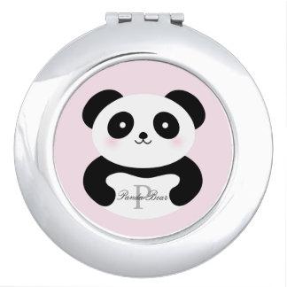 Niedliches Girly Baby-Panda-Bärn-Monogramm Taschenspiegel