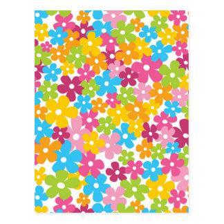 Niedliches girly Frühlings-Blumenmuster Postkarte