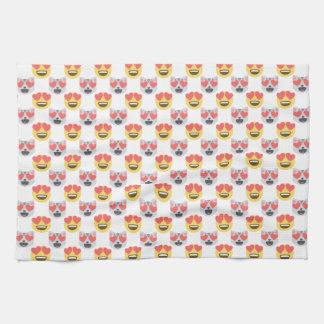 Niedliches Girly In-Liebe Herz-Katze Emoji Muster Küchentuch
