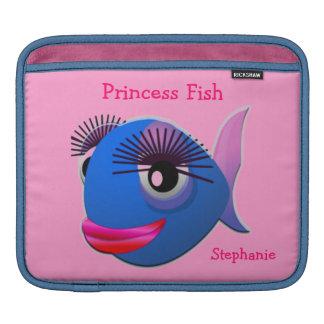 Niedliches Girly Name-Monogramm Prinzessin-Fish iPad Sleeve