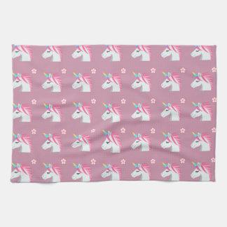 Niedliches Girly rosa Unicorn-Blume Emoji Muster Handtuch