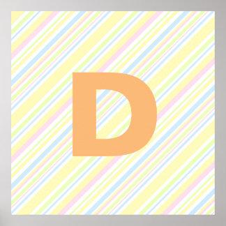 Niedliches Girly vertikaler Streifen-Pastellmuster Poster