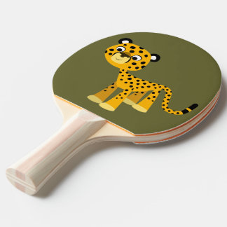 Niedliches glückliches CartoonCheetahPing Pong Tischtennis Schläger