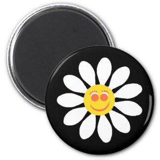 Niedliches glückliches Gesichts-Girly weißes Runder Magnet 5,7 Cm