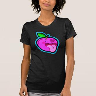 Niedliches glückliches rosa Apfel-Cartoon-Comic im Hemden