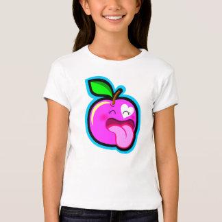 Niedliches glückliches rosa Apfel-Cartoon-Comic im Tshirts