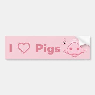 Niedliches glückliches rosa Schwein-Gesicht Autoaufkleber
