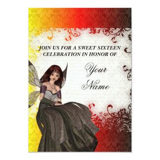 Niedliches gotisches feenhaftes 16. Geburtstag 12,7 X 17,8 Cm Einladungskarte