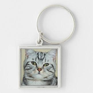 Niedliches graues Katzenporträt Schlüsselanhänger