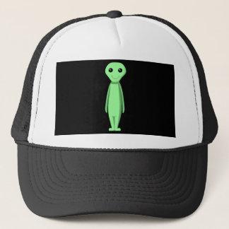 Niedliches grünes alien. Karikatur Truckerkappe