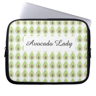 Niedliches grünes Avocado-Muster-Bio Vegetarier Laptop Sleeve Schutzhüllen