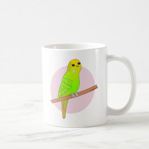 Niedliches grünes Budgie Tee Tasse