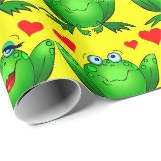 Niedliches grünes Cartoon-Frosch-Liebe-Herz-Gelb Einpackpapier