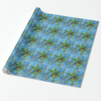 Niedliches grünes Häschen auf Blau Einpackpapier