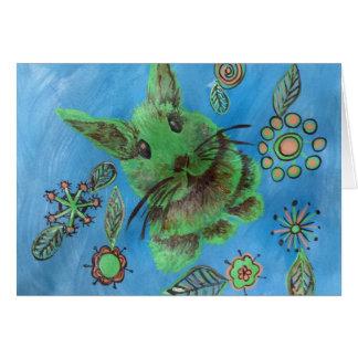 Niedliches grünes Häschen auf Blau Grußkarte