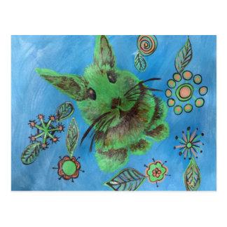 Niedliches grünes Häschen auf Blau Postkarten