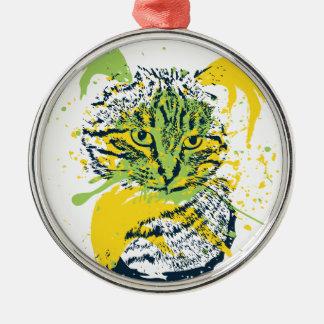 Niedliches Grunge-Katzen-Porträt Silbernes Ornament