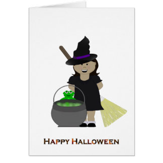 Niedliches Halloween-Mädchen Karte