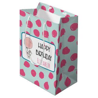 Niedliches Häschen, das Ballon-alles Gute zum Mittlere Geschenktüte
