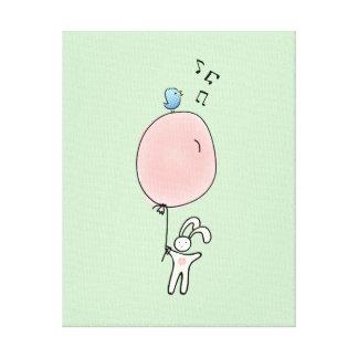 Niedliches Häschen, das einen Ballon hält Leinwanddruck
