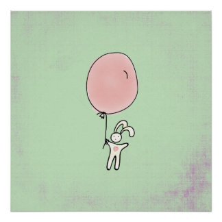 Niedliches Häschen, das einen Ballon hält Poster