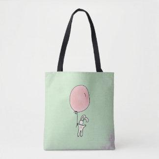 Niedliches Häschen, das einen Ballon hält Tasche
