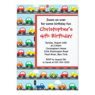 Niedliches helles u. buntes Auto-Geburtstags-Party Karte